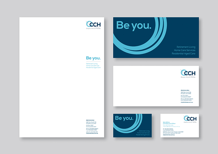 Clayton Church Homes branded stationary designed by communikate