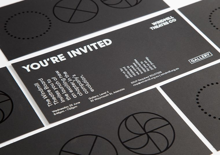 Windmill Theatre Co invitations designed by communikate