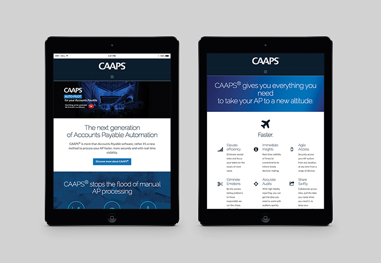 Acumen Data's website home page design shown inside two iPad screens