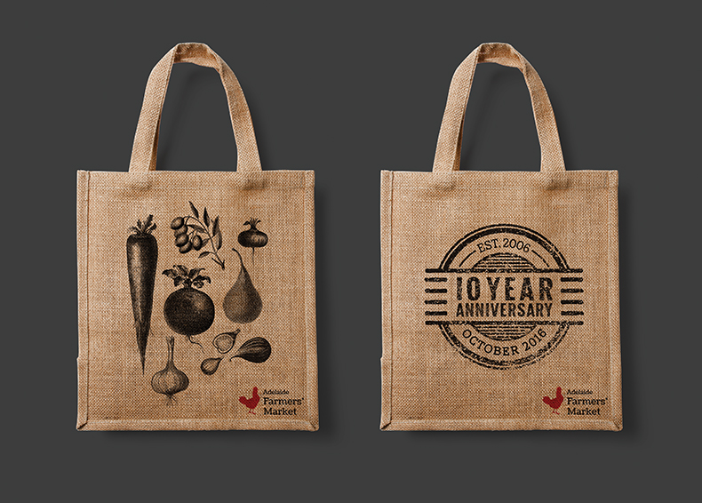 Reusable bags printed with Adelaide Showground Farmers' Market logos and icons