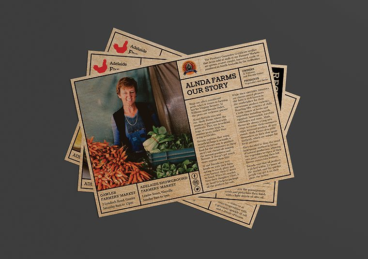 Adelaide Showground Farmers' Market stall holder profile posters designed by communikate