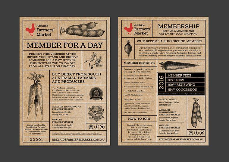 Adelaide Showground Farmers' Market membership flyer designed by communikate et al