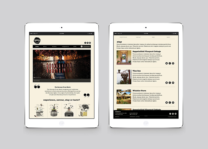 Barossa Trust Mark website pages designed by communikate et al shown inside two iPad screens