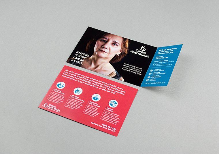 Carers SA fold out pamphlet designed by communikate et al