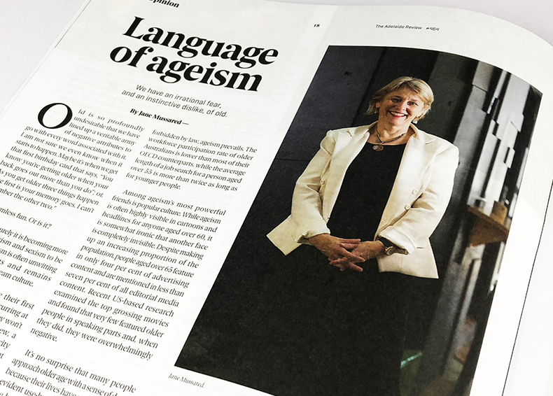 Magazine article about ageing with commentary from Jane Mussared from COTA SA as a result of communikate's PR work