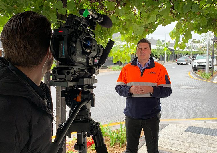 City of Unley employee being filmed for a PR opportunity generated by communikate