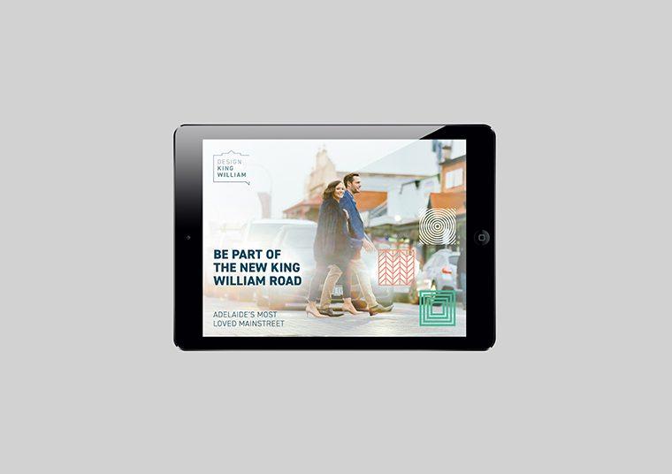 Design King William website designed by communikate shown inside an iPad screen