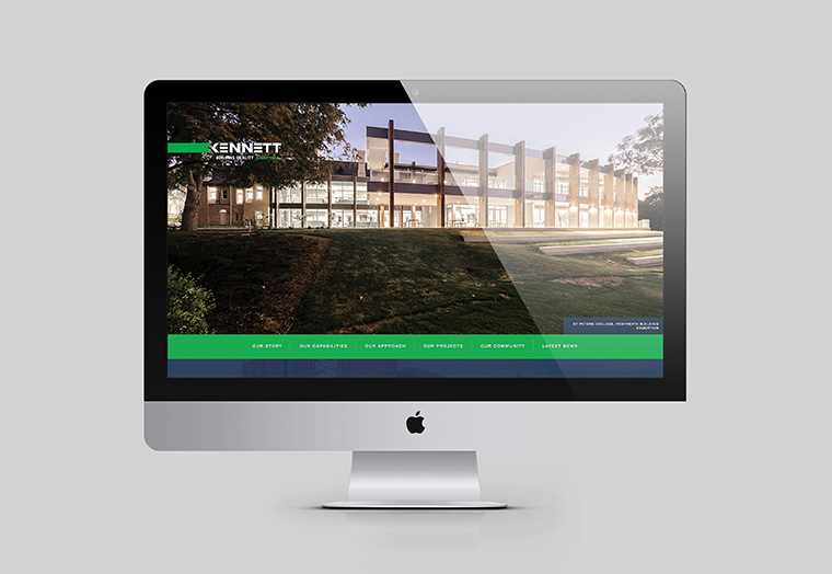 Kennett Builders website home page shown inside an Apple Mac screen designed by communikate