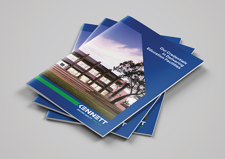 Three stacked Kennett Builders booklets designed by communikate et al