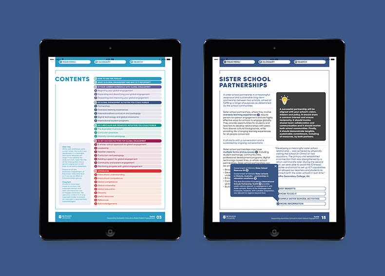 Monash University interactive pdf designed by communikate et al shown inside two iPad screens