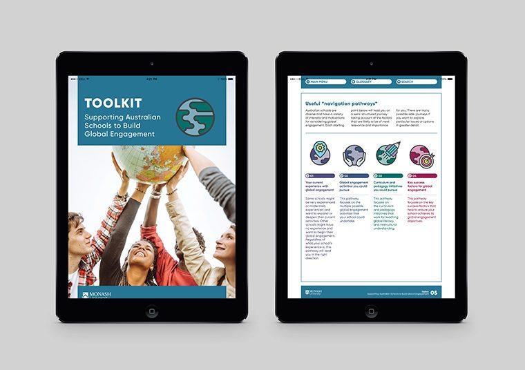 Monash University Education Toolkit interactive pdf designed by communikate shown inside two iPad screens