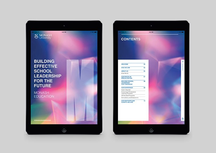 Monash University collateral designed by communikate et al shown inside two iPad screens