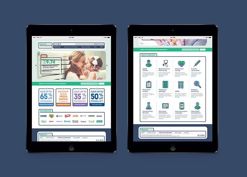 Nexus Pharmacy website homepage shown inside two iPad screens designed by communikate