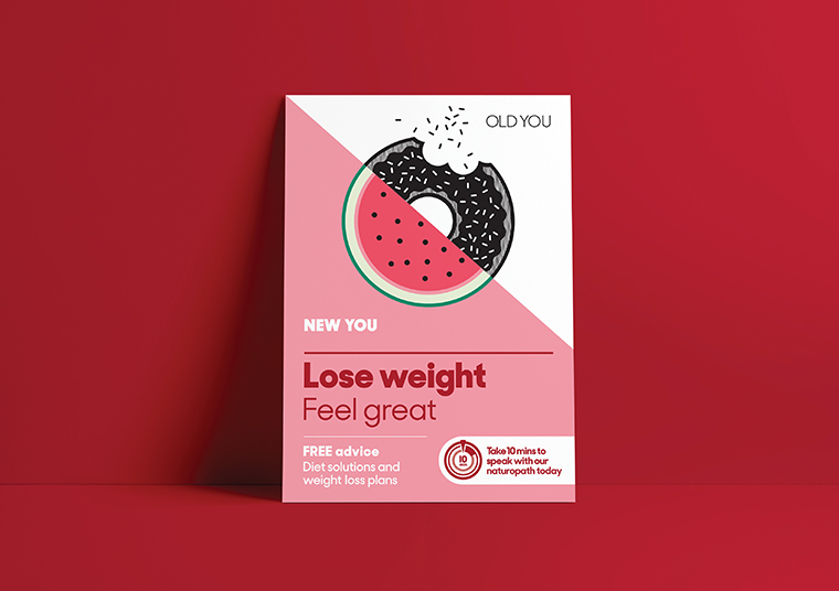 Nexus Pharmacy lose weight poster designed by communikate