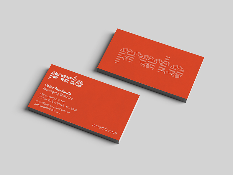 Pronto United business cards designed by communikate