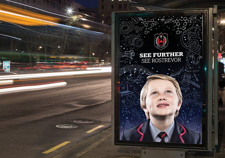Rostrevor College bus shelter ads designed by communikate