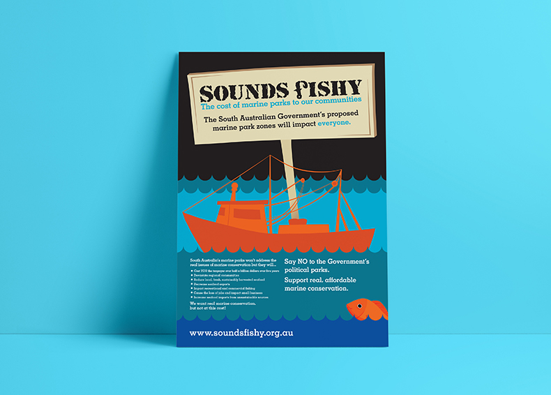 Sounds Fishy poster resting against a blue background designed by communikate
