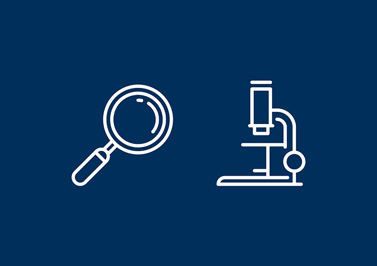 Fullerton Health magnifying glass and microscope icons designed by communikate et al