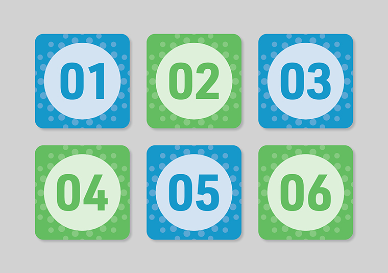 Kalyra Communities green and blue numbered cards designed by communikate