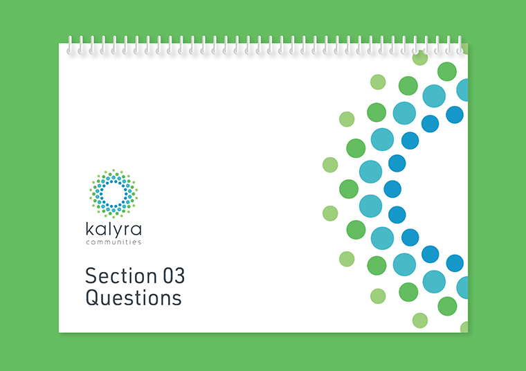 Kalyra Communities workshop booklet designed by communikate