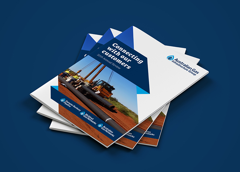 Three stacked Australian Gas Infrastructure Group booklets designed by communikate