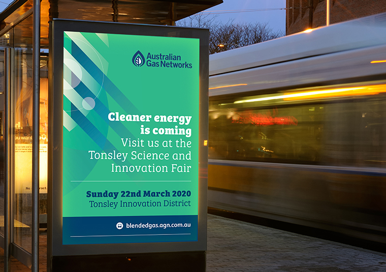 Australian Gas Infrastructure Group bus shelter ad designed by communikate
