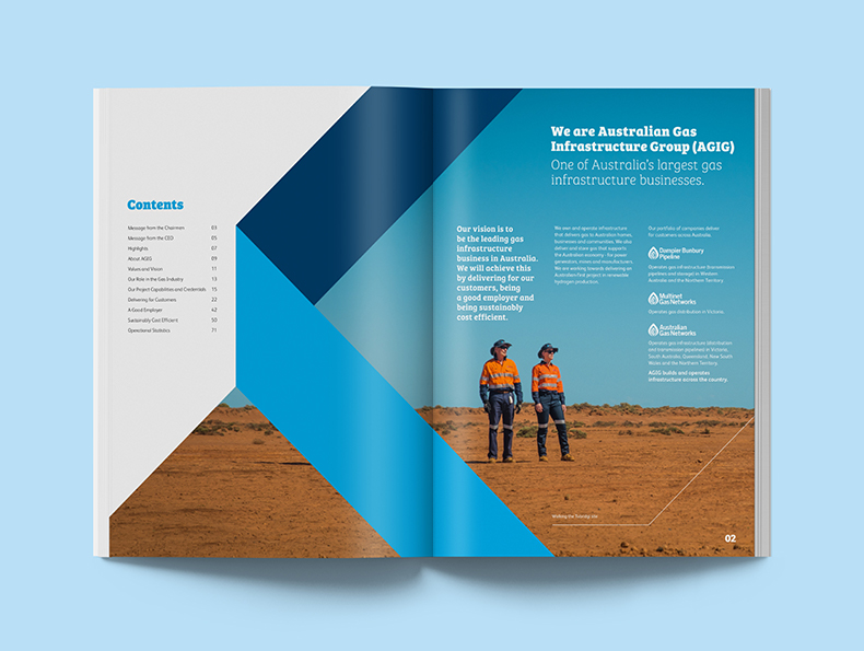 Australian Gas Infrastructure Group booklet laying open on table designed by communikate