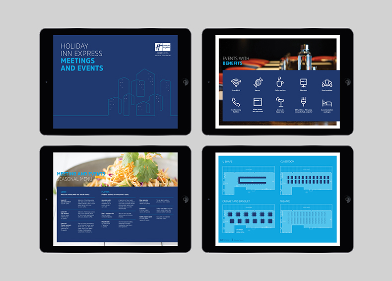 Holiday Inn Express website designed by communikate shown in four iPad screens