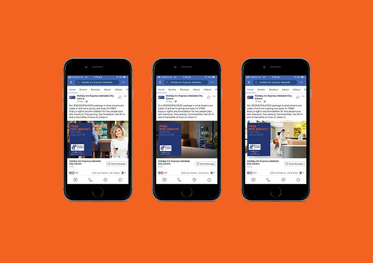 Holiday Inn Express social media posts created by communikate shown inside three iPhone screens