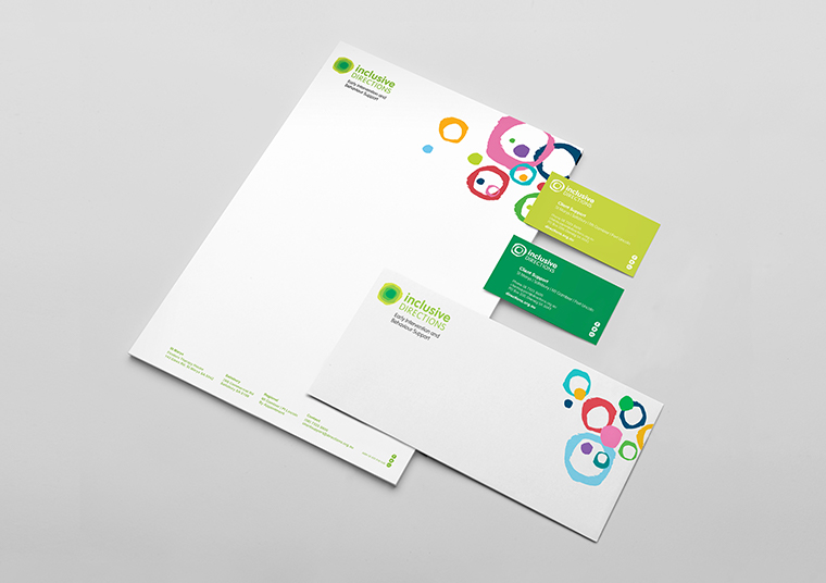 Inclusive Directions stationery designed by communikate