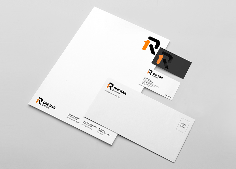 One Rail Australia branded stationery designed by communikate
