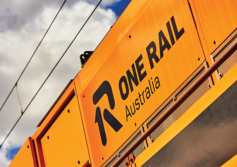 One Rail Australia signage designed by communikate on a train carriage