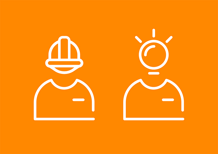 Person wearing a hard hat and person having a lightbulb moment icons designed by communikate