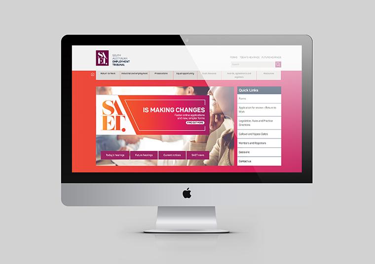 South Australian Employment Tribunal website home page designed by communikate shown inside an Apple Mac screen