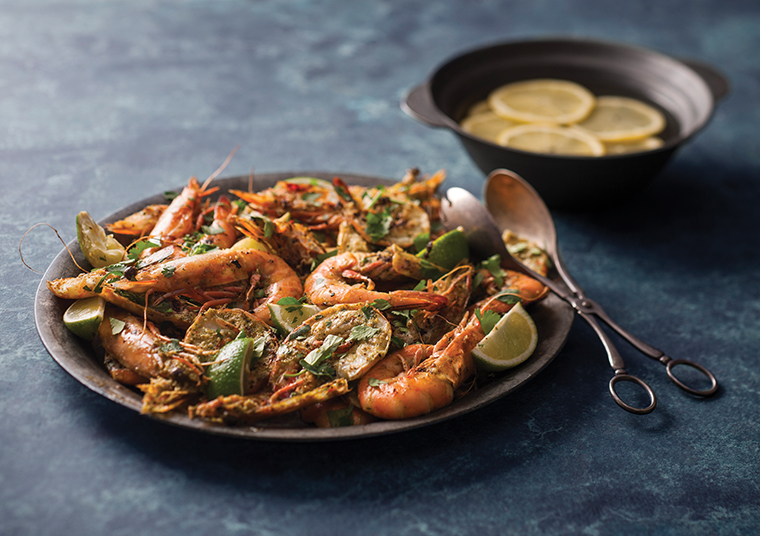 Spencer Gulf King Prawns in a seafood dish sitting on a plate