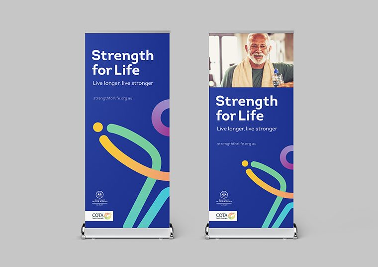 Strength for Life pull up banners designed by communikate et al