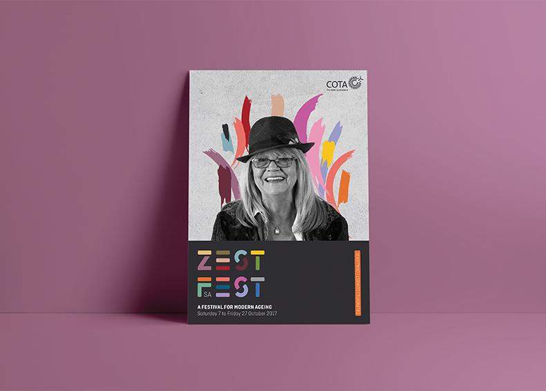 Zest Fest poster celebrating modern ageing designed by communikate et al