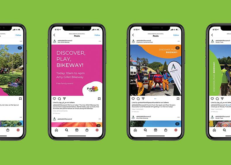 Social Media posts designed by communikate et al sitting in phone screens