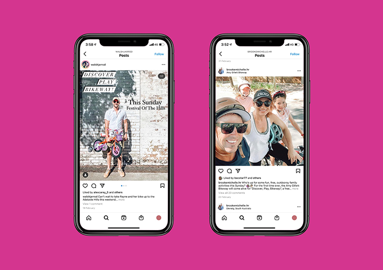 Influencer posts for the Adelaide Hills Fringe Event displayed in phone screens