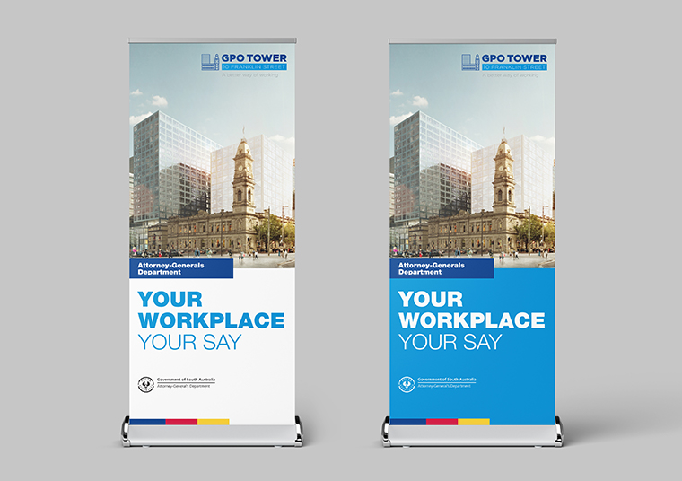Attorney General's Department SA pull up banners designed by communikate et al